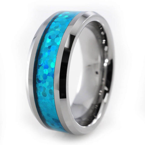 Affordable Blue Opal Silver Tungsten Carbide Ring 8MM - White Background