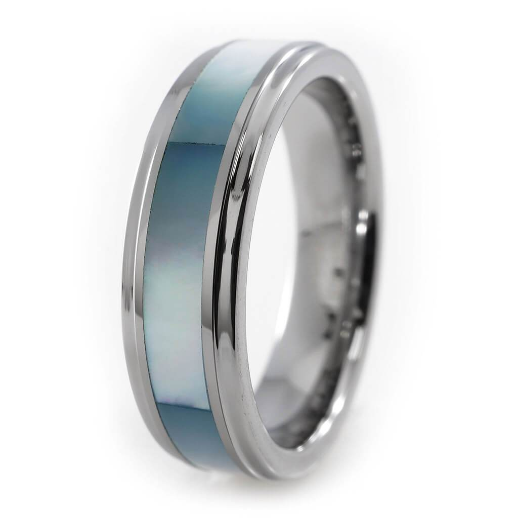 Affordable Blue Shell Silver Tungsten Carbide Ring 8MM - White Background