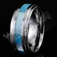 Affordable Blue Shell Silver Tungsten Carbide Ring 8MM - Black Background