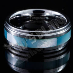 Affordable Blue Shell Silver Tungsten Carbide Ring 8MM - Front View