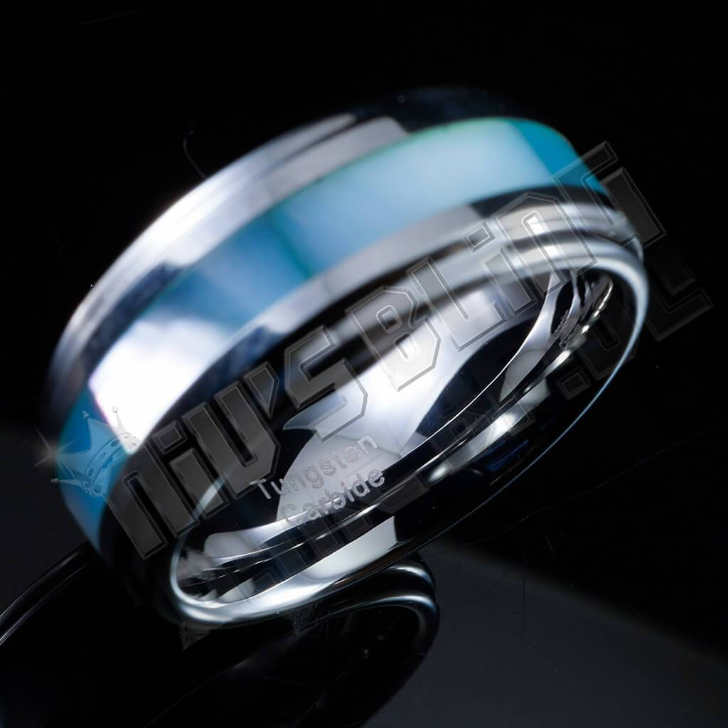 Affordable Blue Shell Silver Tungsten Carbide Ring 8MM - Side View