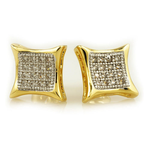 Earrings - 18k Gold Rhodium Iced Out Square Kite Stud Earrings