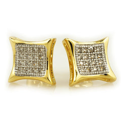 18k Gold Rhodium Iced Square Kite Stud Earrings