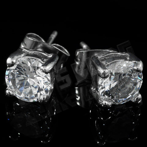 Affordable 18k White Gold Stainless Steel Round Stud Hip Hop Earrings - Black Background