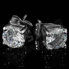 Affordable 18k White Gold Stainless Steel Round Stud Hip Hop Earrings - Front View