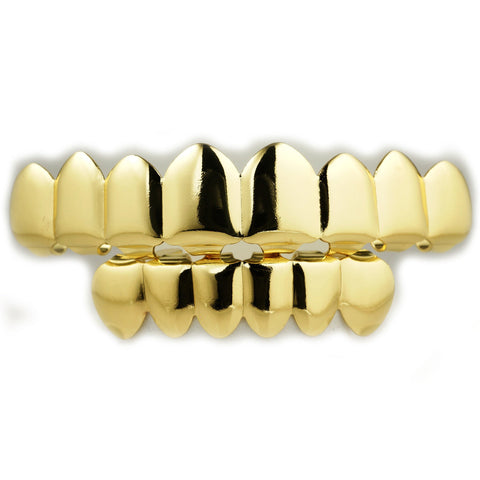 Affordable 14k 8 Tooth Gold Hip Hop Grillz Set - White Background