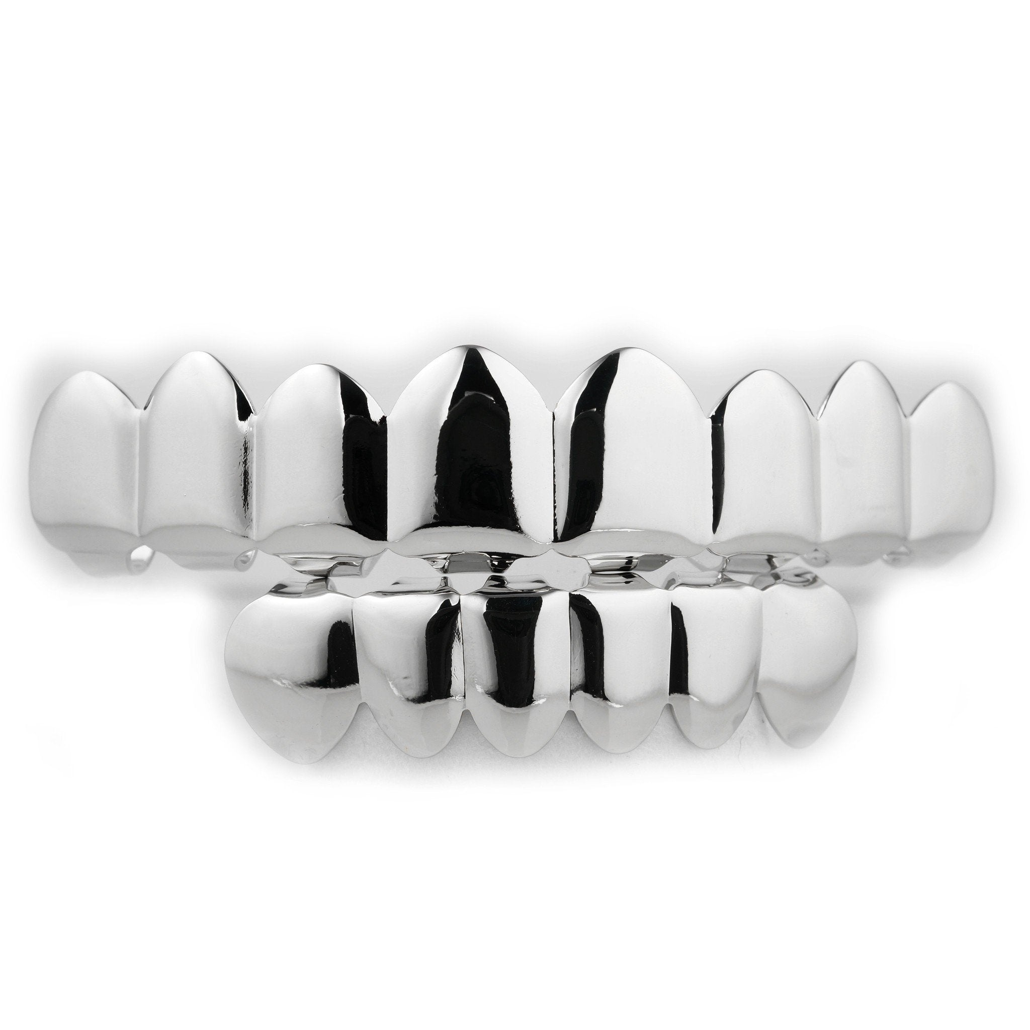 Affordable 14k 8 Tooth White Gold Hip Hop Grillz Set - White Background