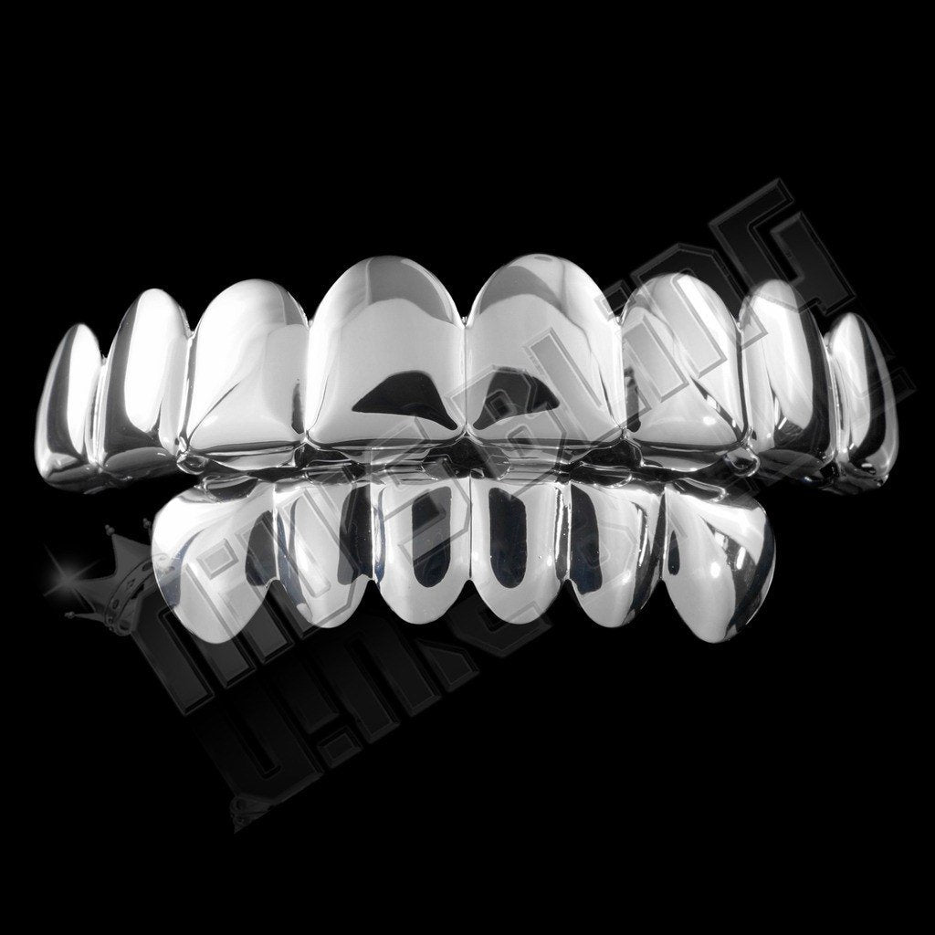 Affordable 14k 8 Tooth White Gold Hip Hop Grillz Set - Black Background