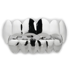 Affordable 14k Silver Vampire Fang Hip Hop Grillz Set - White Background