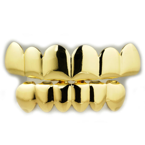Affordable 14k 6 Tooth Gold Hip Hop Grillz - Top and Bottom Set
