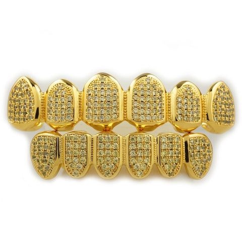 Affordable 18k Canary Gold Top Bottom Hip Hop Grillz - White Background