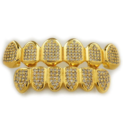 Grillz - 18k Gold Micro Pave Top Bottom Grillz