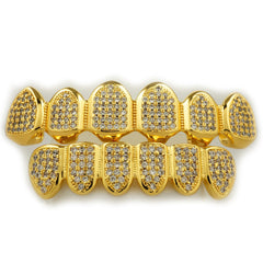 Affordable 18k Gold Micro Pave Top Bottom Hip Hop Grillz - White Background