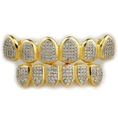 Affordable 18k Gold Micro Pave Rhodium Prong Hip Hop Grillz Set - White Background