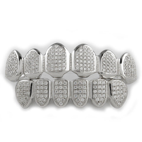 Affordable .925 Sterling Silver Hip Hop Grillz - Top and Bottom Set