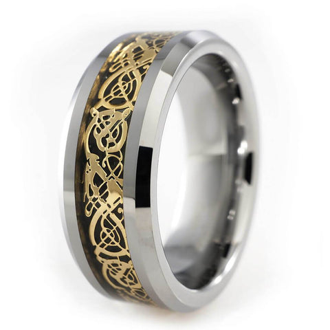 Affordable Gold Celtic Dragon Tungsten Carbide Carbon Fiber Ring 8MM - White Background