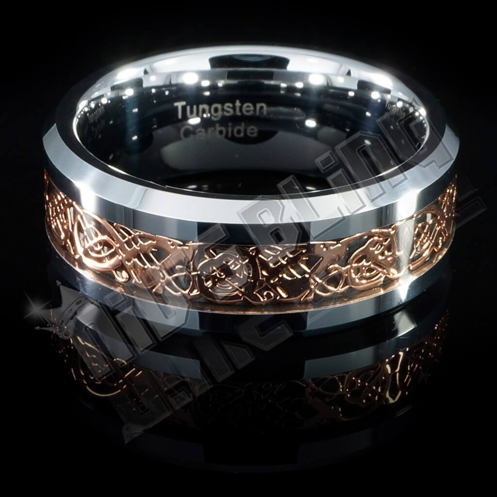 Gold Celtic Dragon Tungsten Carbide Carbon Fiber Ring 8MM