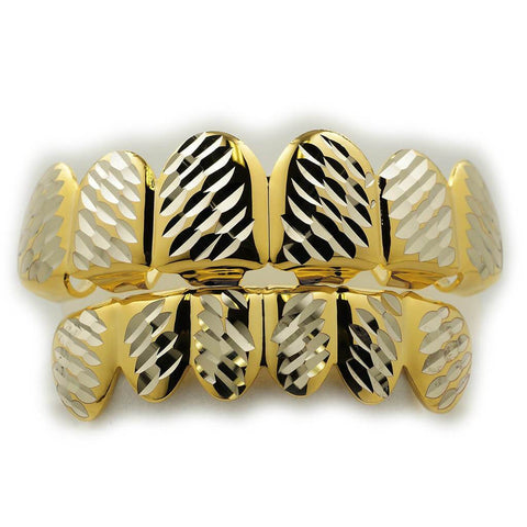 Affordable Gold Diamond Cut 6 Tooth Hip Hop Grillz - White Background
