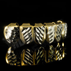 Affordable Gold Diamond Cut 6 Tooth Hip Hop Grillz - Bottom Side Grill