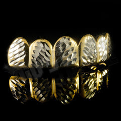 Affordable Gold Diamond Cut 6 Tooth Hip Hop Grillz - Top Side Grill
