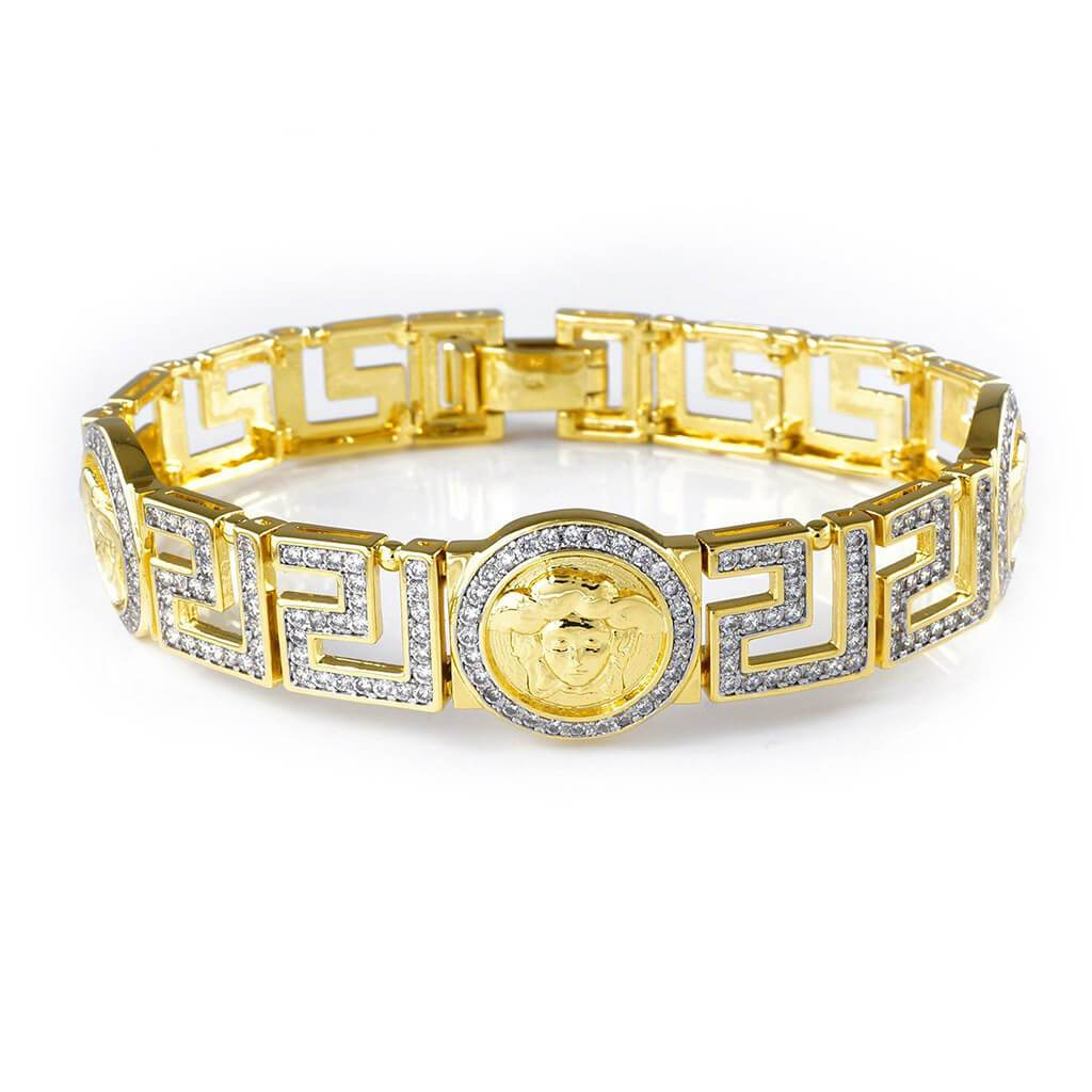 Affordable Gold Medusa Head Medallion Greek Hip Hop Bracelet - White Background