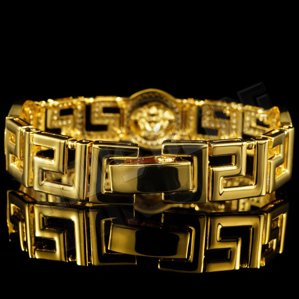 Affordable Gold Medusa Head Medallion Greek Hip Hop Bracelet - Back View