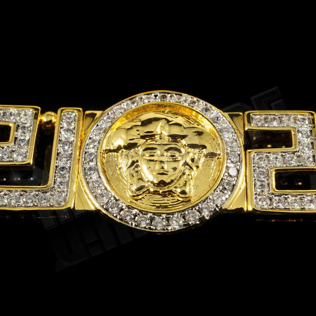 Affordable Gold Medusa Head Medallion Greek Hip Hop Bracelet - Medallion Closed-up View