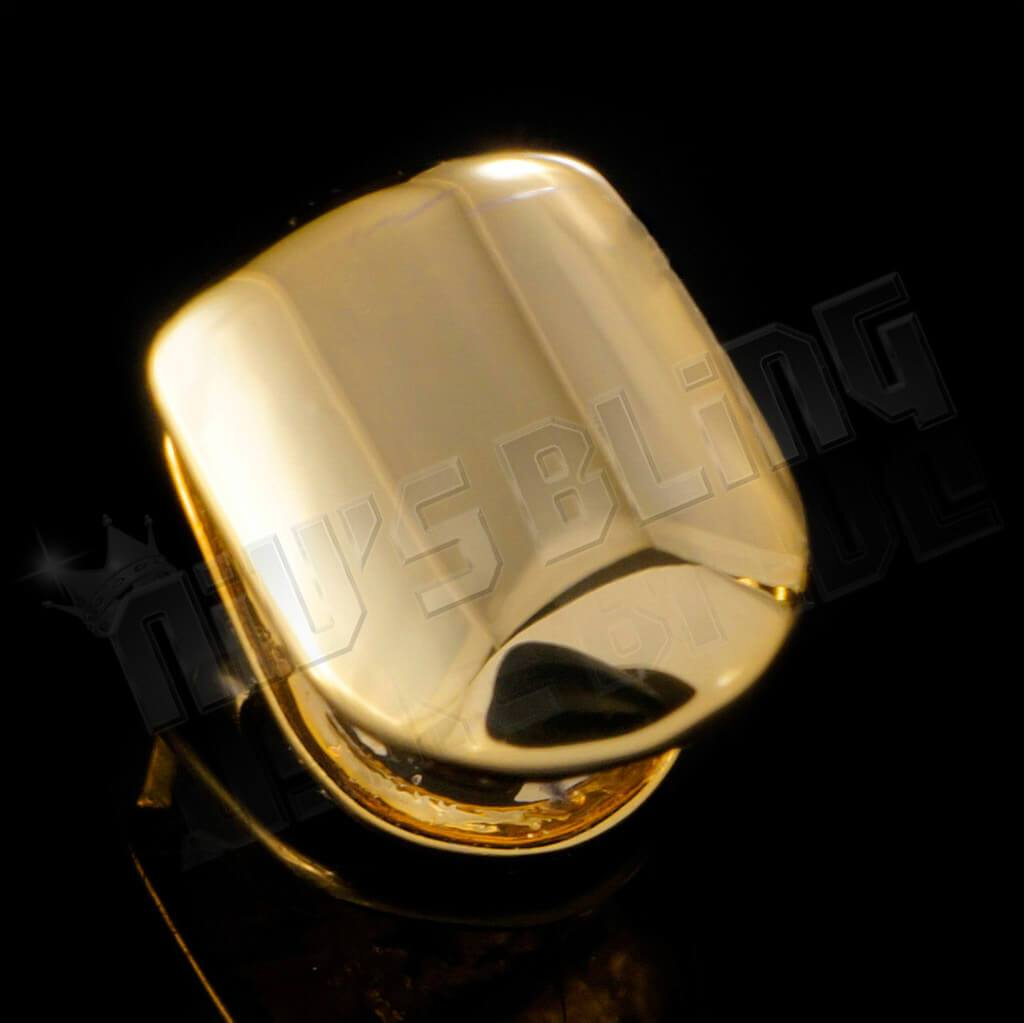 Affordable Gold Single Top Tooth Hip Hop Grill Cap - Side View