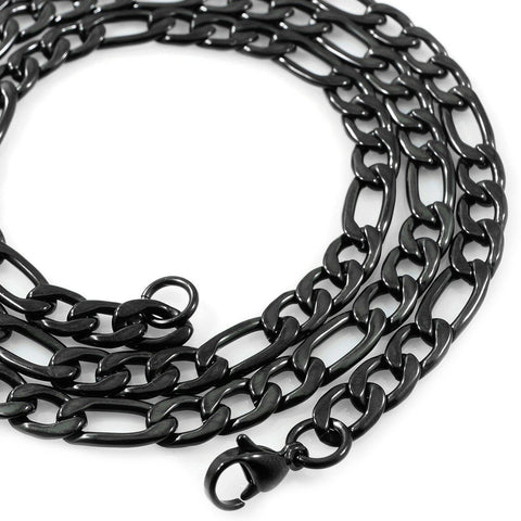 Necklaces - 18K Black Gold Figaro Chain