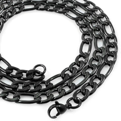 Affordable 18K Black Gold Figaro Hip Hop Chain - White Background