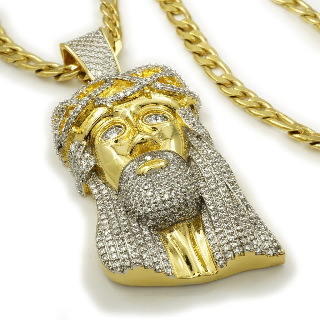 Affordable 18K Gold Iced Out Jesus Piece With Figaro Hip Hop Chain - White Background
