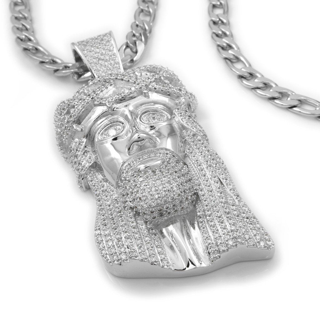 18K White Gold Iced Out Jesus Piece With Figaro Chain