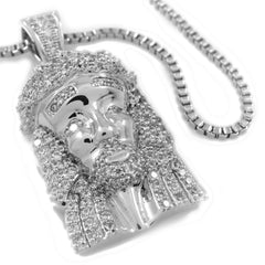 Pendants - 18k White Gold Iced Out Mini Jesus Piece 1 With Chain