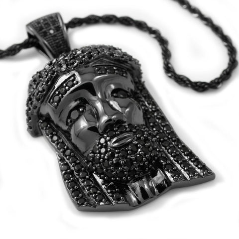 18k Black Gold Iced Mini Jesus Piece 2 with Rope Chain