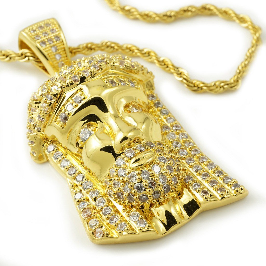 Affordable 18k Gold Iced Out Mini Jesus Piece 2 With Hip Hop Chain - White Background