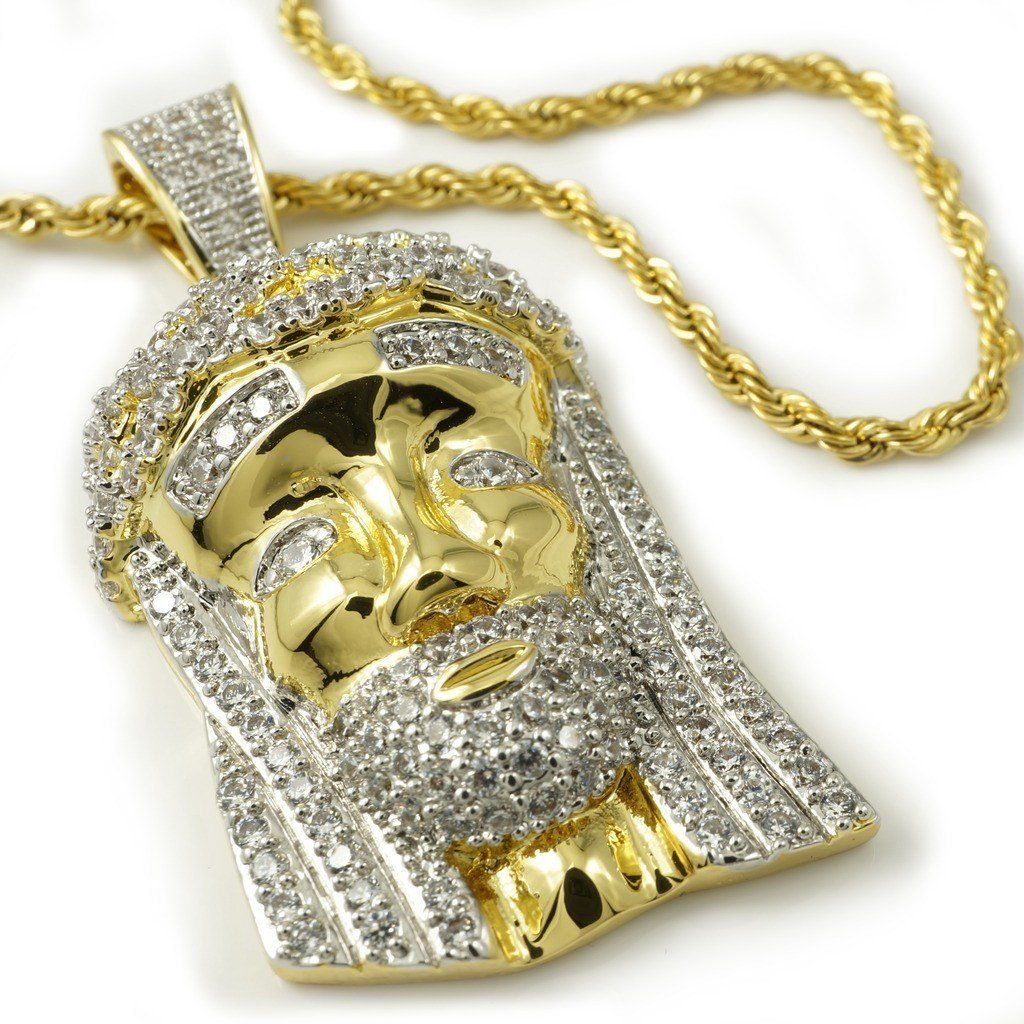 Affordable 18k Gold Mini Jesus Piece 2z With Hip Hop Chain - White Background