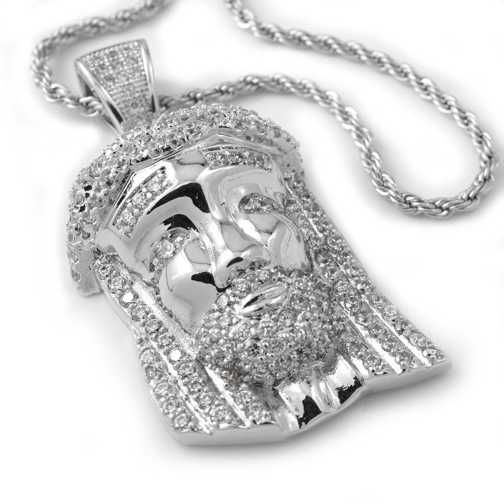 Affordable 18k White Gold Iced Out Mini Jesus Piece 2 With Hip Hop Chain - White Background