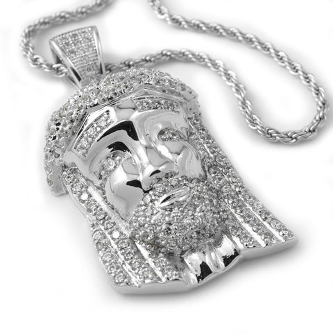 18k White Gold Iced Out Mini Jesus Piece 2 With Rope Chain