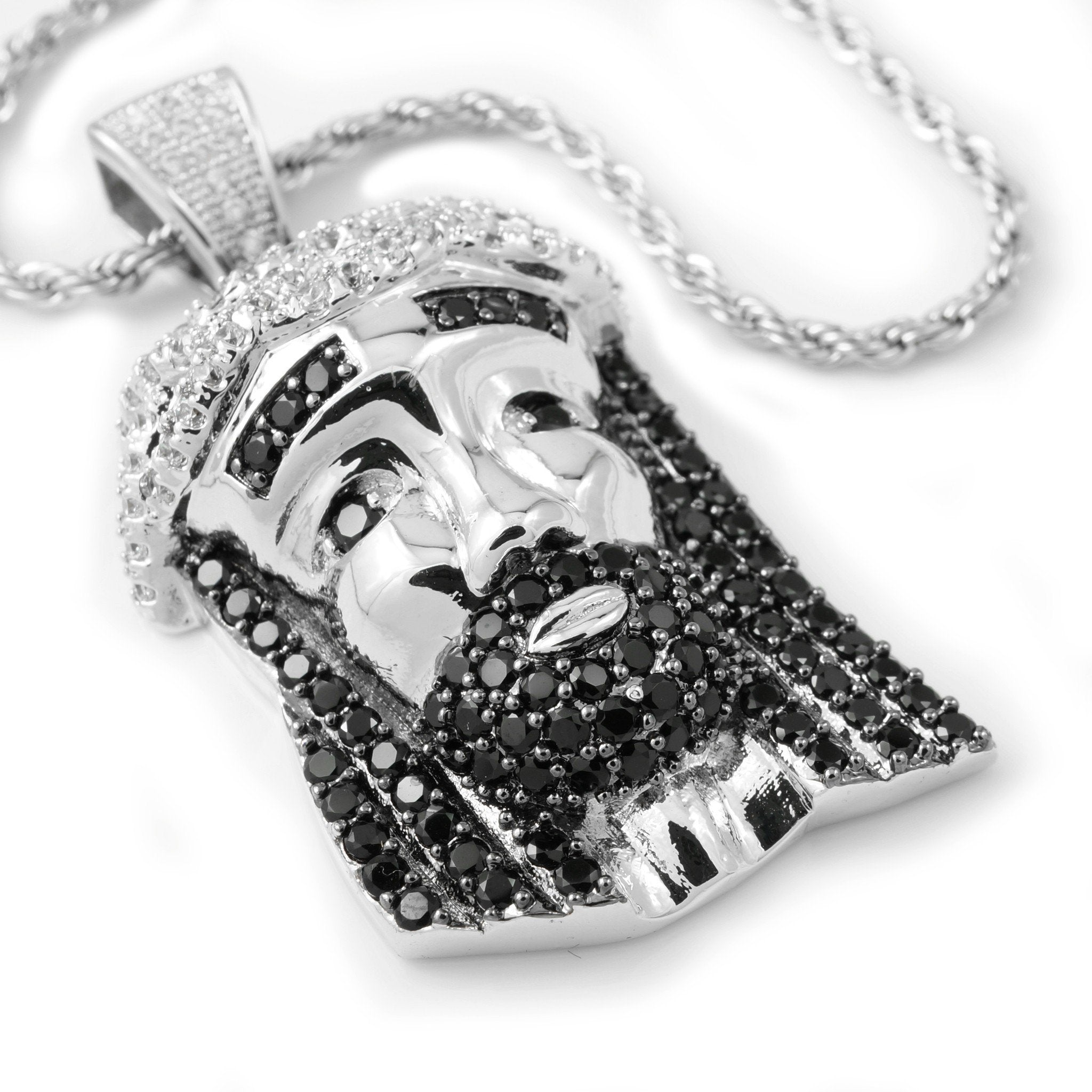18k White Gold/Black CZ Iced Mini Jesus Piece 2 with Rope Chain