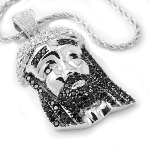 18k White Gold/Black CZ Iced Out Mini Jesus Piece 2 with Rope Chain