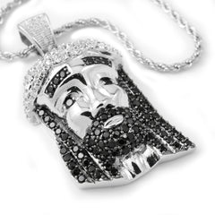Pendants - 18k White Gold/Black CZ Iced Out Mini Jesus Piece 2