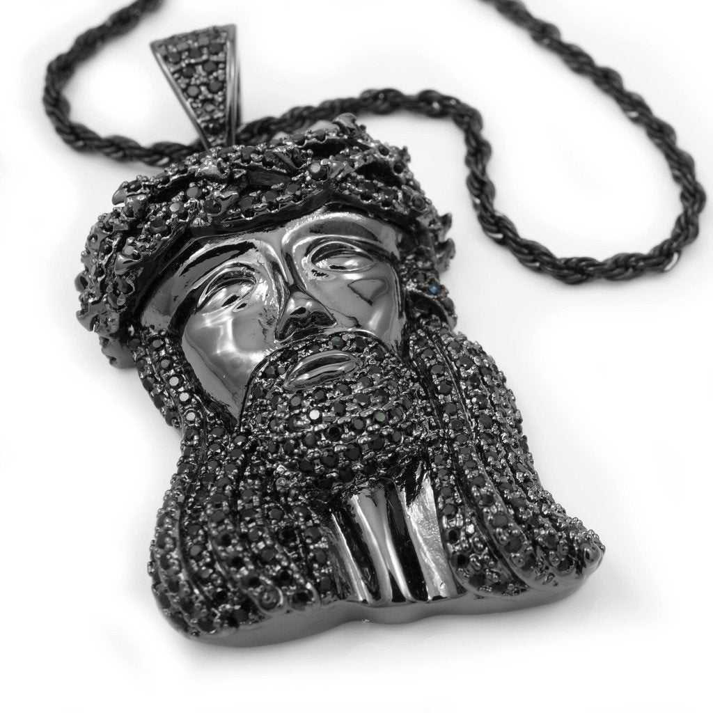 18k Black Gold Mini Jesus Piece 4 With Rope Chain
