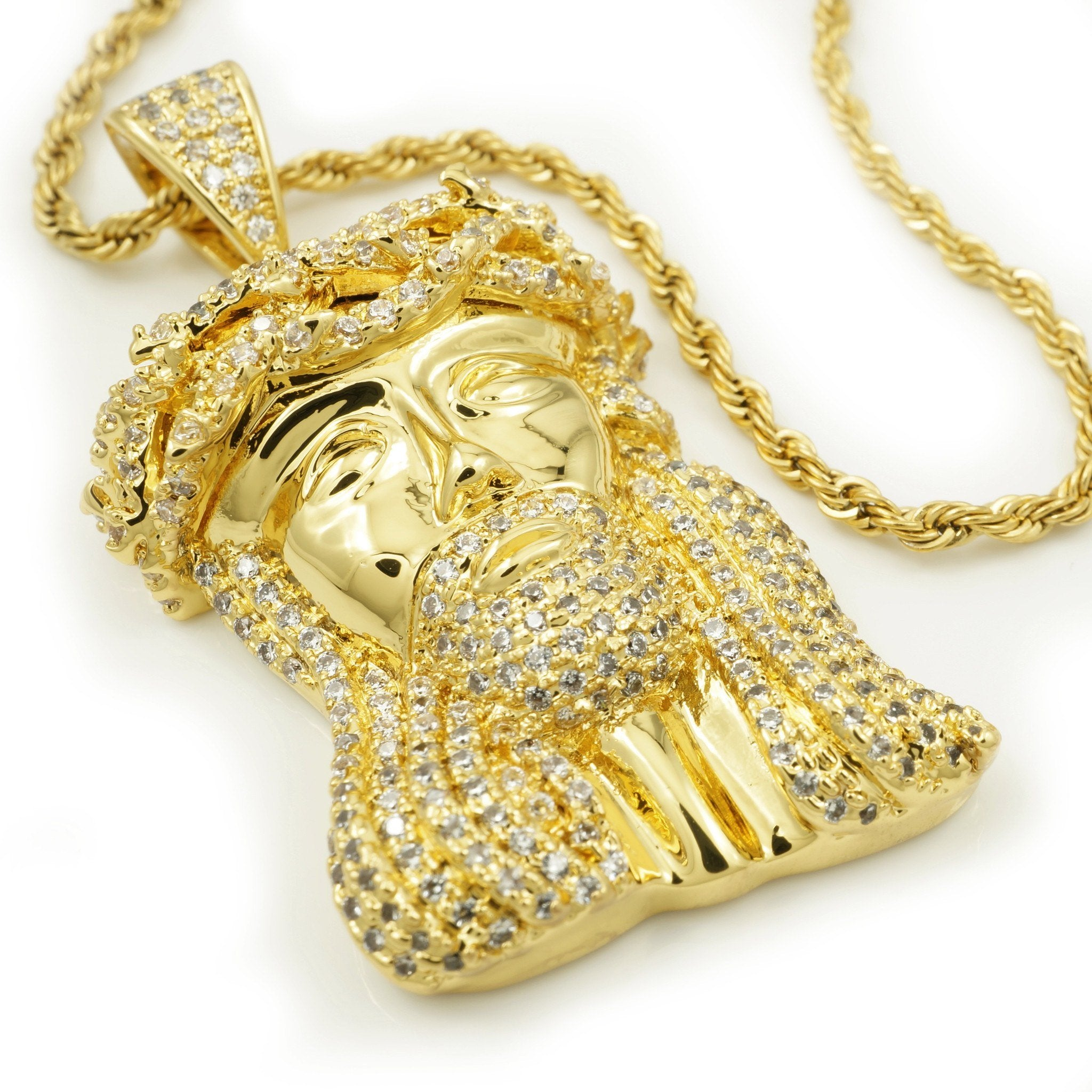 18k Gold Mini Jesus Piece 4 With Rope Chain