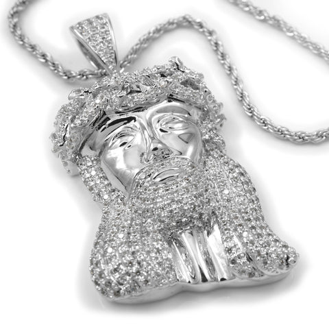 Affordable 18k White Gold Mini Jesus Piece 4 With Hip Hop Chain - White Background