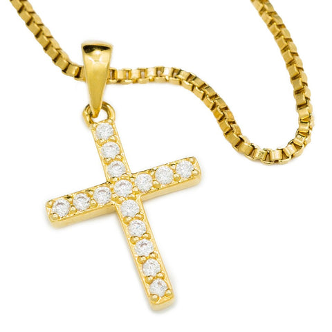 18k Gold Iced Out Micro Cross With Box Chain