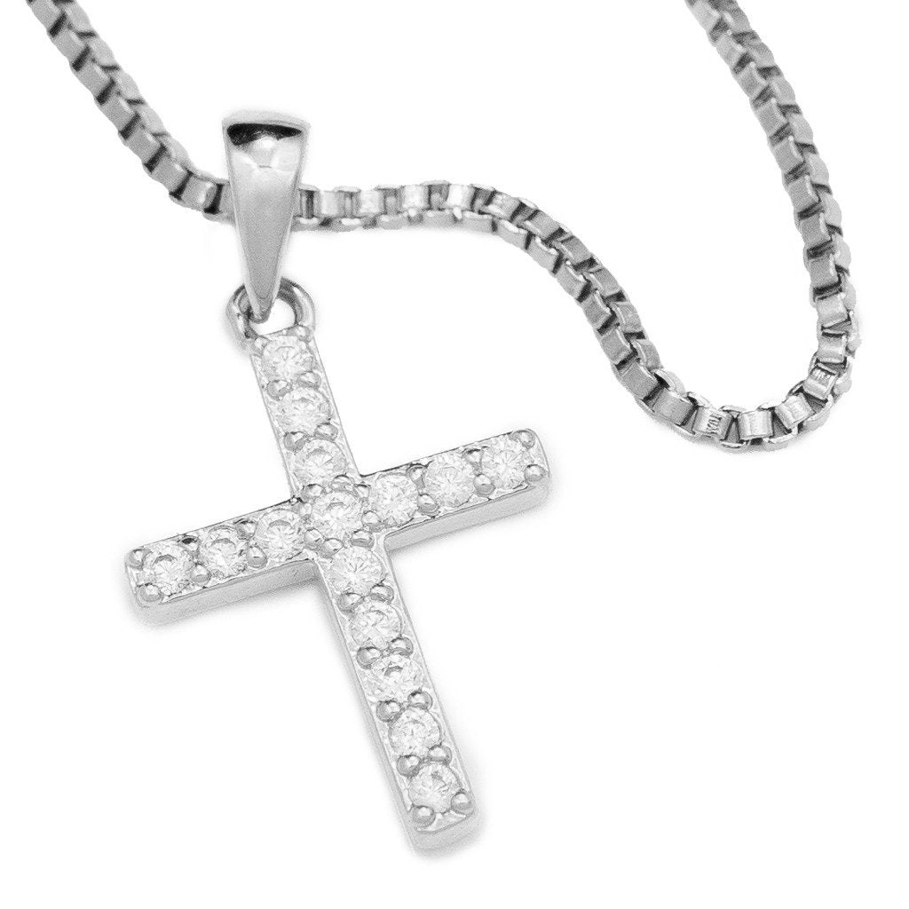 18k White Gold Iced Out Micro Cross With Box Chain