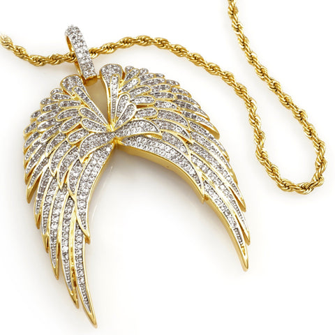 18K Gold Guardian Angel Wing Pendant With Rope Chain