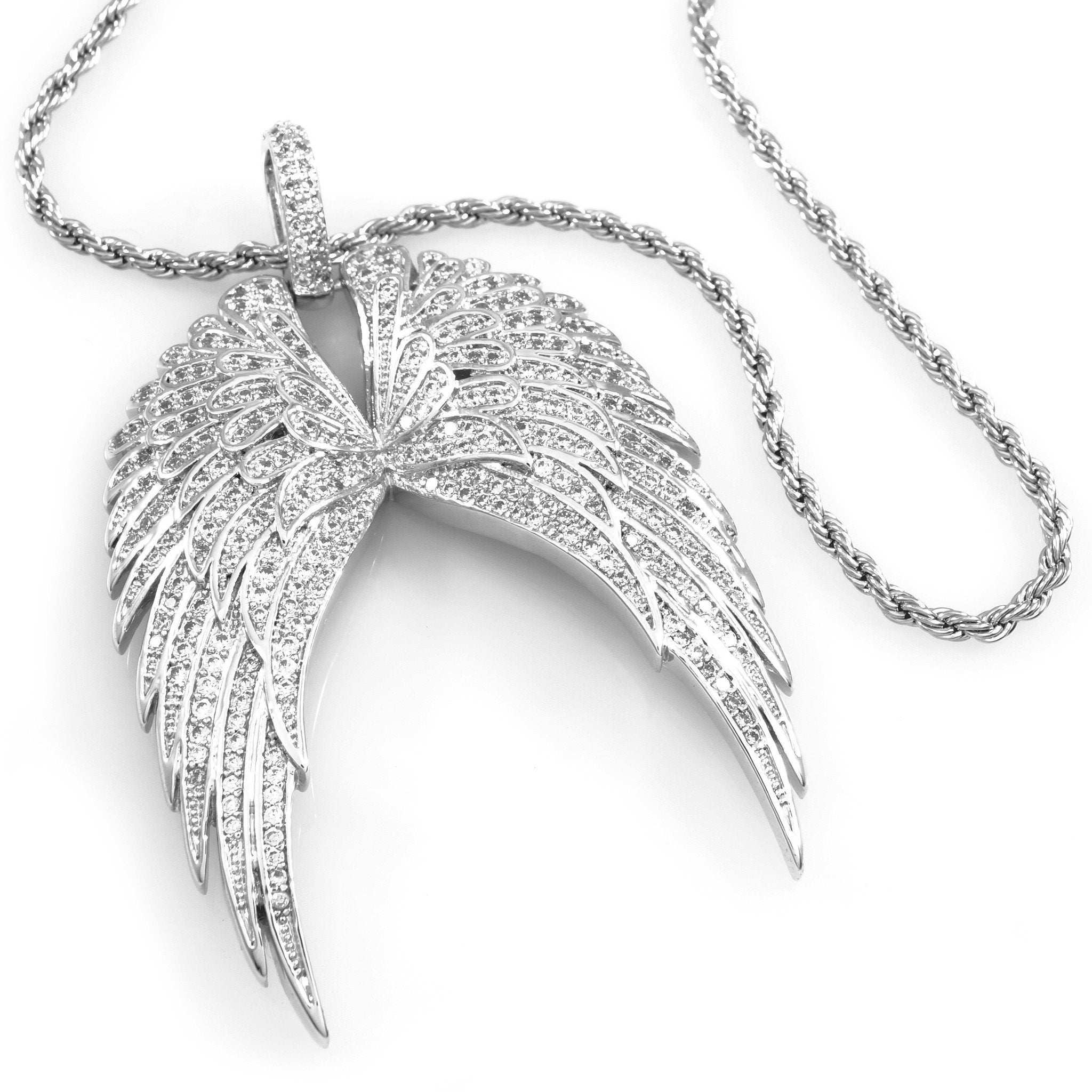 Affordable 18K White Gold Guardian Wing Pendant With Hip Hop Chain - White Background