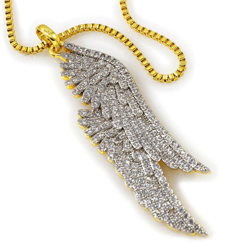 Affordable 18K Gold Parallel Wing Pendant With Hip Hop Chain - White Background