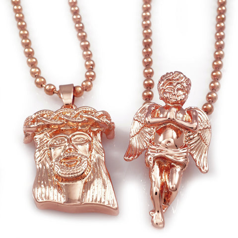 Affordable 18K Rose Gold Angel And Jesus Piece Combo With Hip Hop Chain - White Background